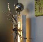 GS20 - Große Dekosäule! Säule gespalten, gebeizt und weiß gebürstet! Natürlich dekoriert mit einer großen Edelstahlkugel auf Fuß! Preis 119,90€ - Aufpreis für Beleuchtung 10€