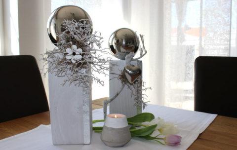KL59 - Holzsäulen dekoriert mit natürlichen Materialien, Edelstahlkugeln, Holzblume oder Edelstahlherz! Säule groß 44,90€ Höhe ca.35cm Säule klein 39,90€ Höhe ca.30cm