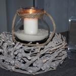 KF05 - Die etwas andere Tischdeko! Windlicht mit Henkel, befüllt mit Sand und Kerze - Preis 10,90€ - Weinrebenkranz Preis 11,90€