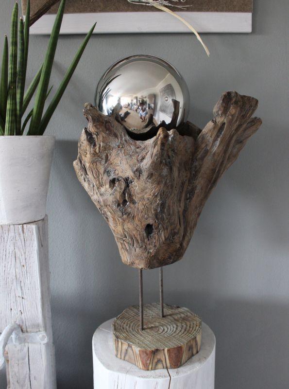 GS110 - Vase aus Teakholz! Preis 99,90€ Höhe ca 60cm Preis Edelstahlkugel 24,90€ Durchmesser 20cm