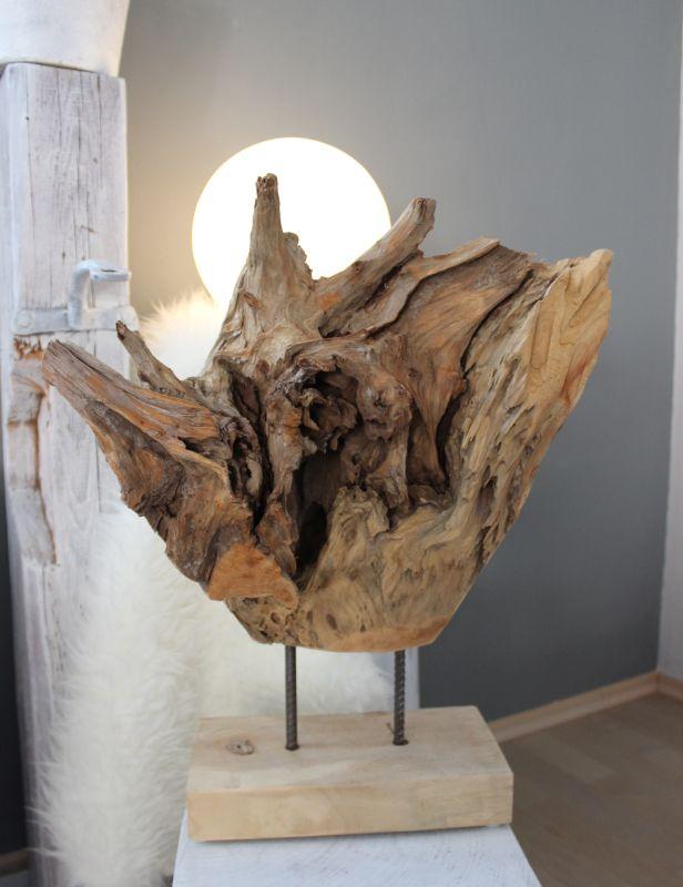 GS112 - Teakholzskulptur Preis 74,90€ Höhe ca.55cm Auf Wunsch auch mit Dekoration ( künstlichen Sukkulenten/ Edelstahlkugel) erhältlich!