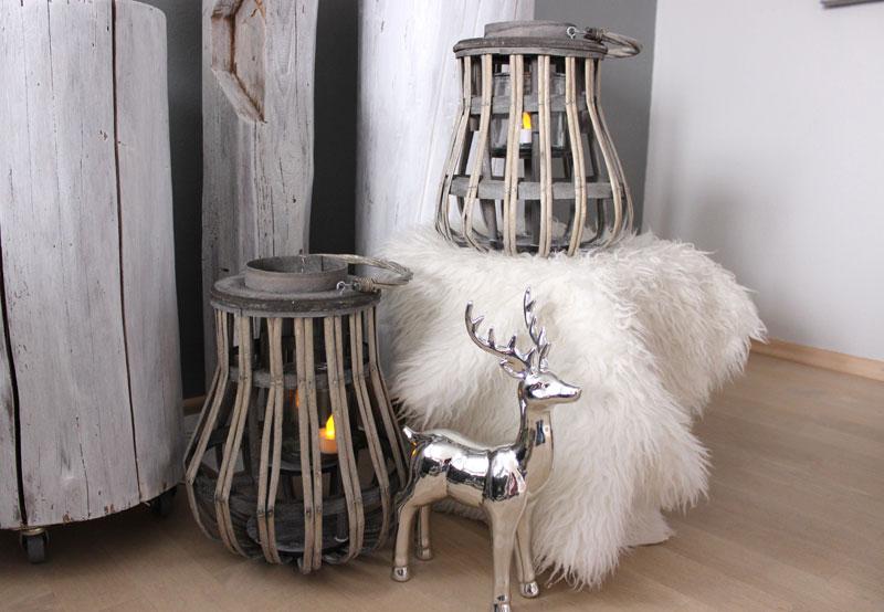 GS112 - Laterne aus Holzgeflecht! Preis 24,90 Höhe 35cm - Hirsch stehend Höhe 34cm Preis 34,90€