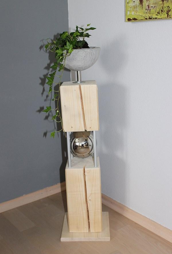 gs04 gro e dekos ule f r innen und aussen holzs ule in zwei teilen verbunden mit chromst ben. Black Bedroom Furniture Sets. Home Design Ideas