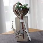 KL19 – Kleine Holzsäule aus altem Holz! Natürlich dekoriert mit einer Edelstahlschale zum bepflanzen! Preis 44,90€