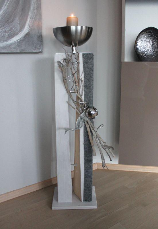 GS71 - Große gespaltene Säule für Innen und Außen! Große gespaltene Säule, dekoriert mit natürlichen Materialien, Filzband, Edelstahlkugel und einer Edelstahlschale! Preis 119,90 € – Mit Beleuchtung 129,90€ Höhe ca 105cm