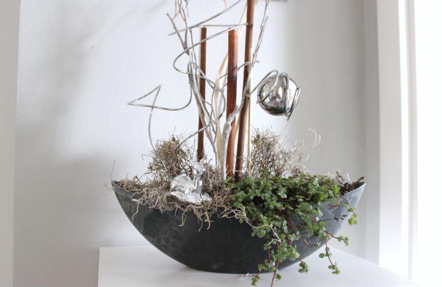 td85 edle deko f r tisch sideboard oder fenster dunkelgraue kunststoffschale bepflanzt und. Black Bedroom Furniture Sets. Home Design Ideas