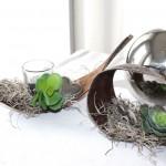 TD62 - Kokosblatt als Tischdeko! Kokosblätter dekoriert mit Kunstmoos, künstlichen Sukkulenten und einem Herz! Preis 12,90 - Mit Teelichtglas 13,90€