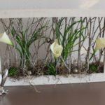 TD152 - Garten zum stellen oder hängen! Holzrahmen dekoriert mit künstlichen Sukkulenten, Gräser, Callas und kleinen Edelstahlkugeln! Preis 44,90€ Größe 47x23cm