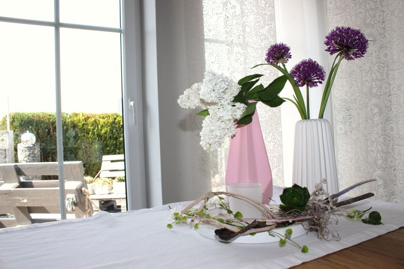 Td129 Vasen Und Tischdeko In Pastellfarben Holztablett Als