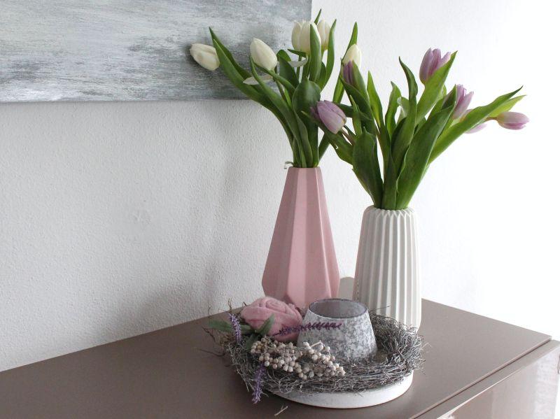 Td117 Vasen Und Tischdeko In Pastellfarben Holztablett Als