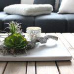 TD163 - Zeitlose Tischdeko! Holzbrett weiß gebeizt, dekoriert mit natürlichen Materialien und künstlichen Sukkulenten! Preis 34,90€ Größe 20x30cm Teelichtglas 4,90€