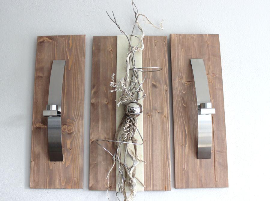 WD51 - Exclusive Wanddeko! Dreiteilige Wanddeko aus gebeizten Holz! Dekoriert mit Edelstahlleisten, Filzband, Materialien aus der Natur und einer Edelstahlkugel! Gesamtbreite 70cm - Höhe 60cm - Preis 109,90€