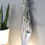 WD48 - Edle Wanddeko! Großes Kokosblatt weiß gebeizt, dekoriert mit natürlichen Materialien, Band und einer künstlichen Sukkulenten! Preis 49,90€