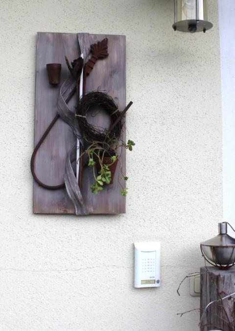 WD17 Wanddeko mit Rostelementen, Rebenkranz und Glas zum bepflanzen! Preis 39,90€