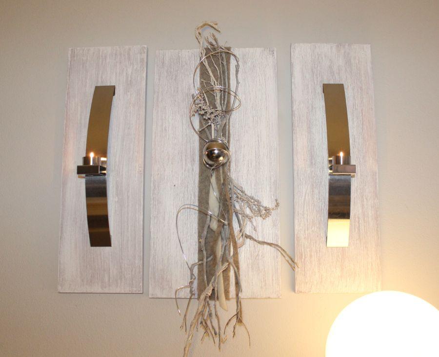 WD43 - Exclusive Wanddeko! Dreiteilige Wanddeko aus gebeizten und weiß gebürstetem Holz! Dekoriert mit Edelstahlleisten, Filzband, Materialien aus der Natur und einer Edelstahlkugel! Gesamtbreite 70cm - Höhe 60cm - Preis 109,90€