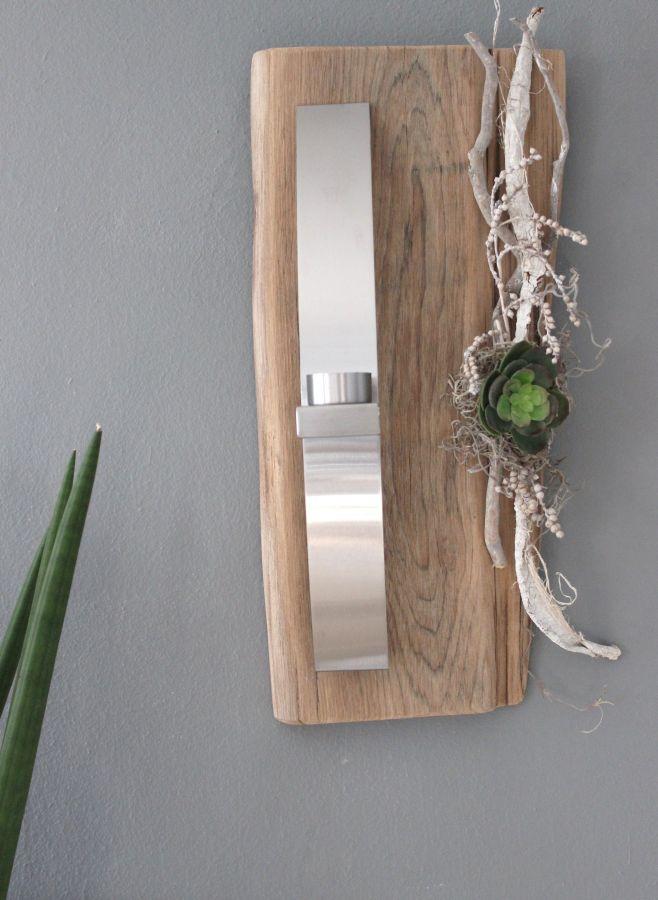 WD44 - Außergewöhnliche Wanddeko! Altes Eichenbrett natürlich dekoriert mit einer künstlichen Sukkulente und einer Edelstahlleiste die als Teelichhalter oder Blumenvase dient! Preis 54,90€