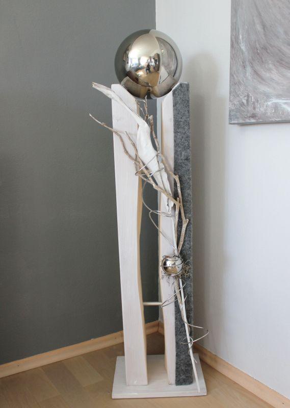 GS80 - Große Säule für Innen und Außen! Große gespaltene Säule, dekoriert mit Materialien aus der Natur, einer kleinen Edelstahlkugel und einer großen Edelstahlkugel die herausnehmbar ist! Preis 149,90€ Höhe 110cm