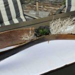 TD141 - Aussergewöhnliche Tischdeko! Gespaltenes Kokosblatt, dekoriert mit natürlichen Materialien und einer künstlichen Sukkulente! Preis 44,90€ Breite ca 100cm