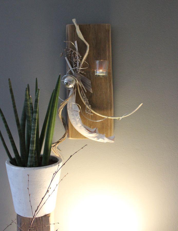 WD30 - Altes Eichenholz als Wanddeko! Altes Holz bearbeitet und natürlich dekoriert mit einer Edelstahlkugel! Preis 55,90€
