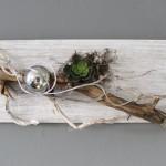 WD37 - Die etwas andere Wanddeko! Holzbrett gebeizt und weiß gebürstet, natürlich dekoriert mit einem großen Rebenast, natürlichen Materialien, einer Edelstahlkugel und einer künstlichen Sukkulente! Größe 20x60cm - Preis 44,90 €