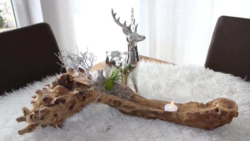 HE106 Teakholzschale dekoriert mit Teelicht, natürlichen Materialien, künstlichen Sukkulenten und einem Erlkönig! Hirsch 24,90€