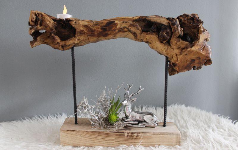 HE109 - Standdeko aus Teakholz! Dekoriert mit natürlichen Materialien, Teelicht und künstlichen Sukkulenten! Preis 44,90€ Breite ca 60cm Hirsch 9,90€