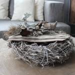 HE23 – Kranz als Tischdeko! Großer Rebenkranz natürlich dekoriert mit Filzbändern und einem Reh! 44,90€
