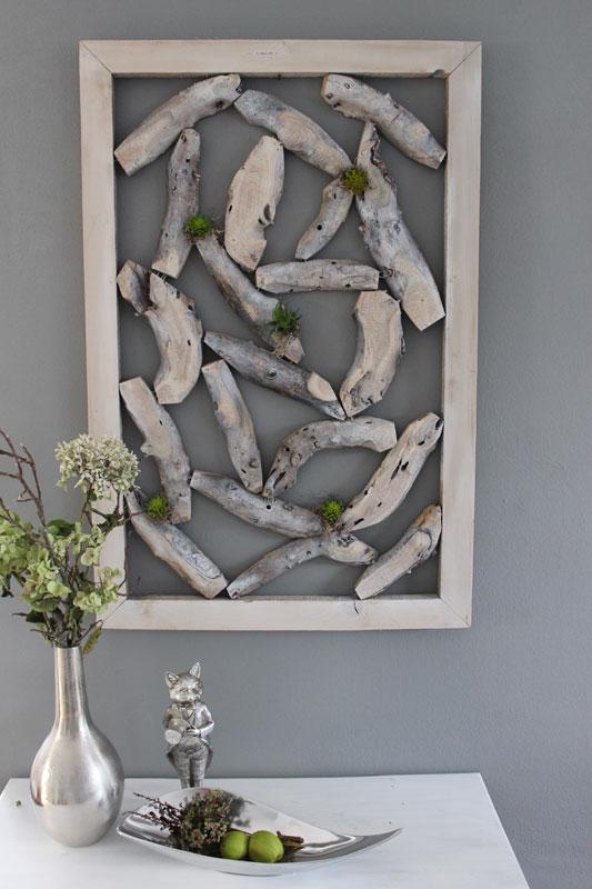 WD123 - Wanddeko aus Holzstücken, dekoriert mit Kunstmoos und künstlichen Sukkulenten! Preis 74,90€ Größe ca 60x90cm