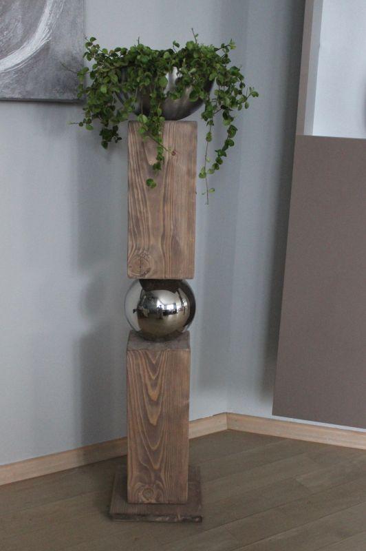 GS27 – Große exclusive Dekosäule! Zweigeteilte Dekosäule verbunden mit einer Edelstahlkugel! Dekoriert mit einer Edelstahlschale zum bepflanzen oder als Kerzenhalter! Preis 119,90€
