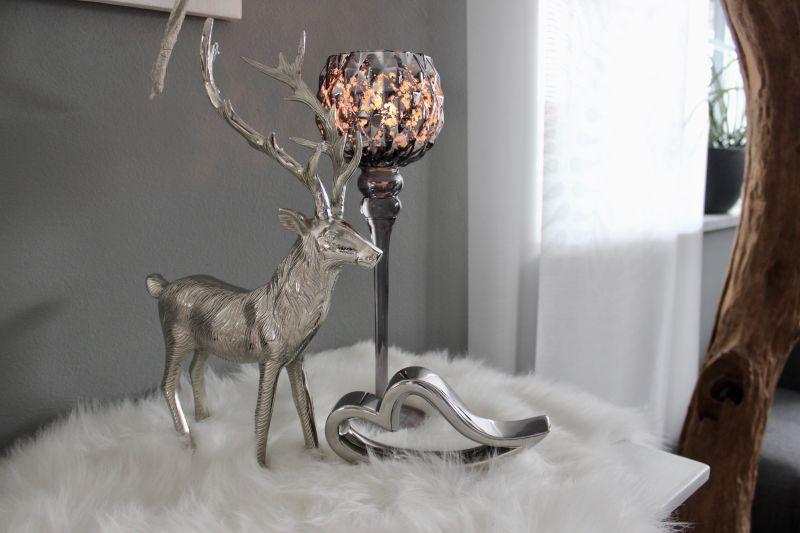 TD535 - Glaskelch silber -grau Preis 19,90€ Höhe 40cm Keramikherz Preis 9,90€ Breite 22cm