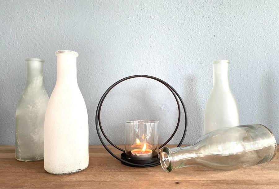 TD600 - Metallring als Kerzenständer! Preis 9,90€ 4er Set Flaschen! Preis 14,90€ Höhe 26,5cm
