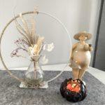TD596 - Metallring auf Fuß, dekoriert mit Juteband, Vase mit Trockenblumenstrauß! Durchmesser 25cm Preis 29,90€