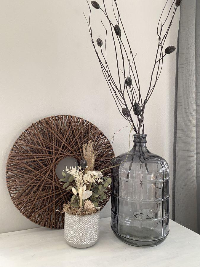 TD590 - Bodenvase aus Glas! Preis 39,90€ Größe 41,5x23,5cm Äste mit Frucht Preis pro Bund 9,90€ Wandelement Preis 19,90€ Durchmesser 50cm